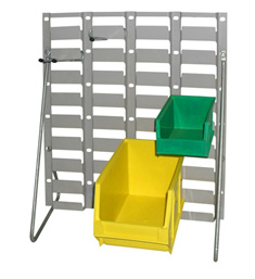 Plastic containers on a free standing bench unit