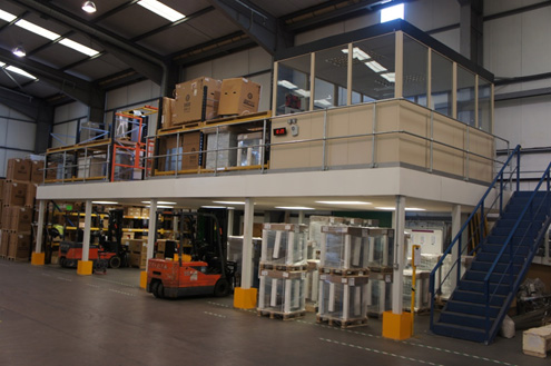 Steel partitioning on a mezzanine floor